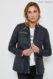 Mint Velvet Charcoal Waxed Biker Jacket