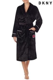 DKNY Black Long Fleece Robe
