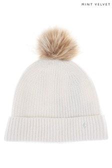 Mint Velvet Knitted Cream Pom Pom Hat