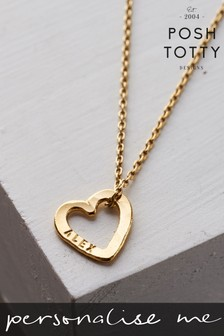 Personalised Mini Love Heart 18ct Yellow Gold Plate Necklace by Posh Totty Designs