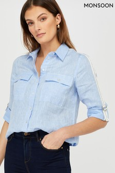 Monsoon Ladies Blue Katya Linen Taped Shirt