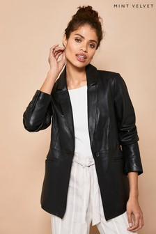 Mint Velvet Black Leather Blazer