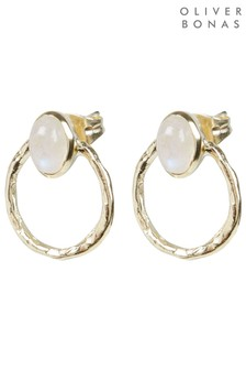 Oliver Bonas White Hythe Oval Stone & Textured Detail Gold Plated Stud Earrings