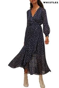 Whistles Blue Satin Stripe Spot Wrap Dress