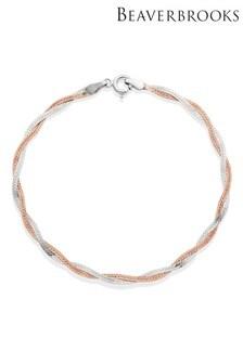 Beaverbooks Silver 18ct Rose Gold Plated Plait Bracelet