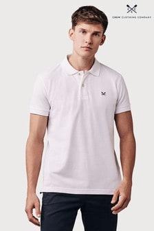 Crew Clothing Company White Slim Fit Pique Poloshirt