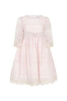 Girls Light Pink Lace Dress
