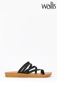 Wallis Black Multi Scallop Flexi Sandals