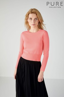 Pure Collection Pink Cashmere Cropped Sweater