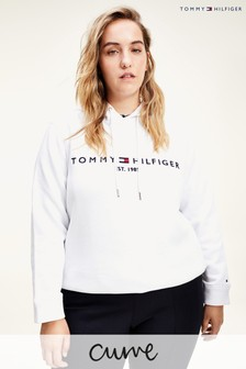 Tommy Hilfiger White Curve Essential Logo Hoody