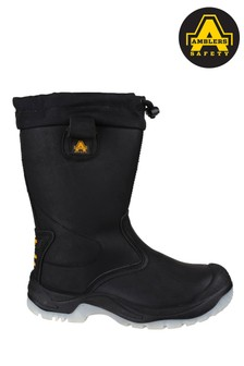 Amblers Safety Black FS209 Water Resistant Pull-On Safety Rigger Boots
