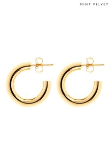 Mint Velvet Natural Gold Small Hoop Earrings