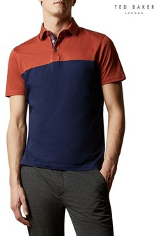 Ted Baker Tan Loop Short Sleeved Blocked Colour Polo