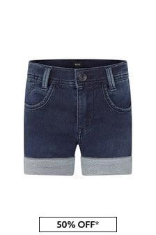 Boss Kidswear Boys Blue Cotton Shorts