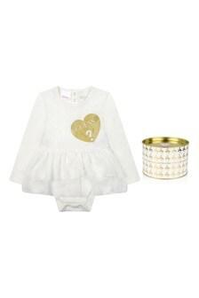 Baby Girls White Cotton Dress Bodysuit
