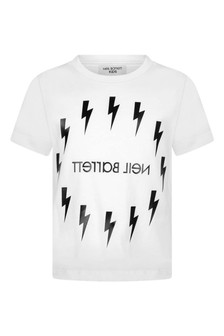 Boys White Cotton Logo Lightning Bolt Print T-Shirt