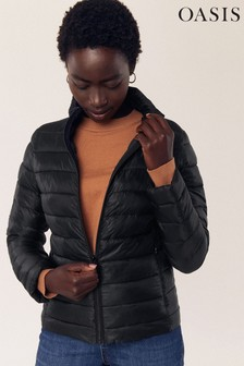 Oasis Black Quilted Stripe Padded Jacket