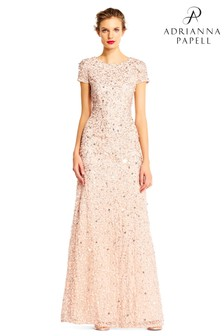 Adrianna Papell Pink Scoop Back Long Dress