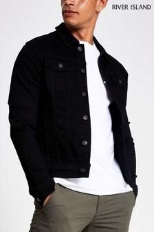 River Island Black Muscle Denim Jacket