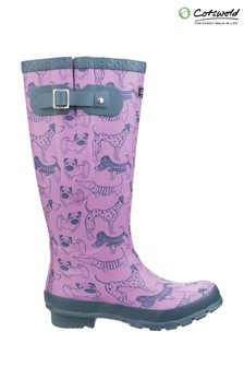 Cotswold Purple Windsor Print Wellingtons