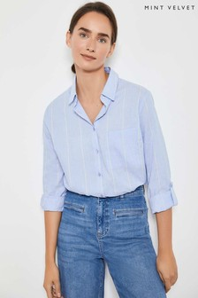 Mint Velvet Blue Chambray Stripe Shirt