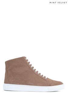 Mint Velvet Freya Nude Faux Fur Lined Trainers