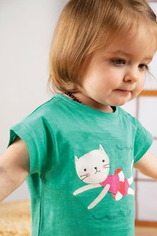Frugi GOTS Organic Top In Green With Cat Appliqué