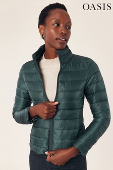 Oasis Green Quilted Stripe Padded Jacket
