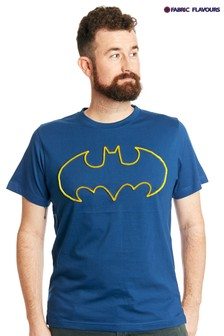 Fabric Flavours Blue Mens Batman® Tuft Logo T-Shirt