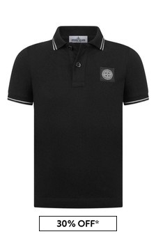 Boys Black Cotton Pique Polo Top