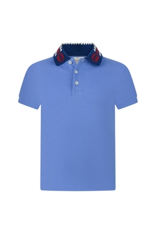 GUCCI Kids Piquet Knitted Collar Polo Top