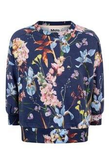 Girls Blue Organic Cotton Floral Sweater