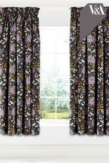V&A Peony Trail Lined Eyelet Curtains