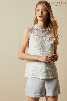 Ted Baker Cream Adriene Lace Panelled Top