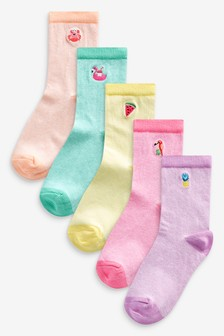 5 Pack Embroidered Ankle Socks