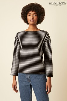 Great Plains Black Bebe Breton Wide Neck Top