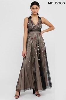 Monsoon Nude Emmy Floral Embellished Maxi Dress