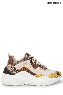 Steve Madden Cream Antonia Lace-Up Trainers