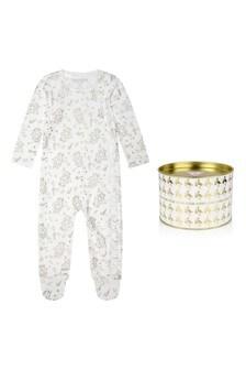 Girls Ivory Cotton Bear Babygrow