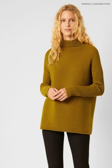French Connection Green Mozart Knit High Neck Jumper