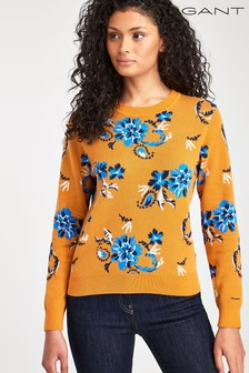 GANT Womens Orange Paisley Floral Cotton Jumper