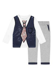 Baby Boys White Cotton T-Shirt And Trousers Set