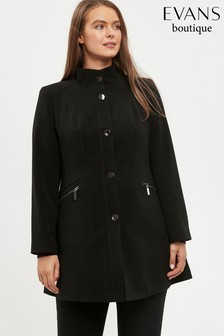 Evans Curve Black Double Crepe Funnel Coat