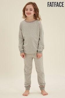 FatFace Grey Stripe Cuffed Pyjamas Set