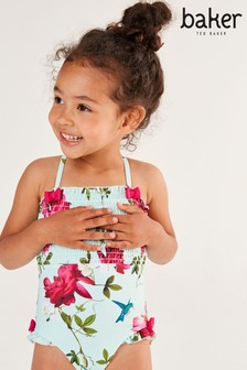 Baker by Ted Baker Girls Mint Floral Shirred Swimsuit