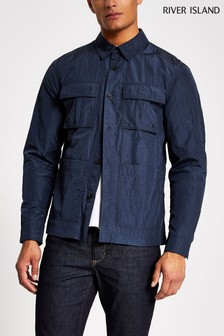 River Island Navy Tech 4 Pocket Overshirt