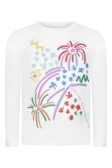 Girls Ivory Long Sleeve Fireworks T-Shirt