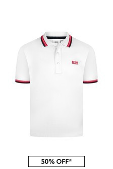 Boss Kidswear Boys White Cotton Poloshirt