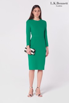 L.K.Bennett Green Everett Crepe Shift Dress