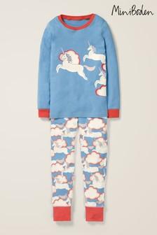 Boden Blue Cosy Long John Pyjamas